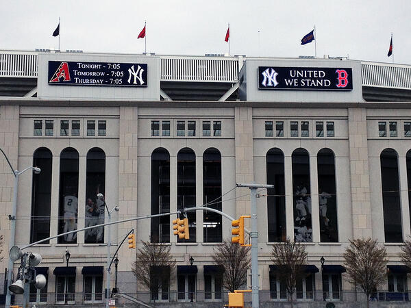 The New York Yankees will play 'Sweet Caroline' (a Fenway Park tradition) at the end of the third inning tonight as a tribute to the Boston community. Photo via Yankees on Twitter
