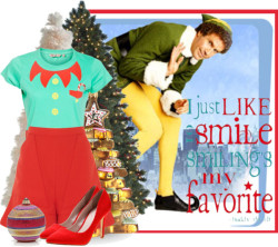 Favorite Christmas Movie: Elf by kmp11 featuring iris shoes ❤ liked on PolyvoreGivenchy , $1,135 / Iris shoes, $53 / Judith Leiber  / Treetopia - Biltmore Pine Artificial Christmas Tree / Kurt S. Adler Cookie Christmas Tree Ornament / White Sugar Pine Artificial Christmas Tree - Frontgate / Green Elf Costume T-Shirt, $13