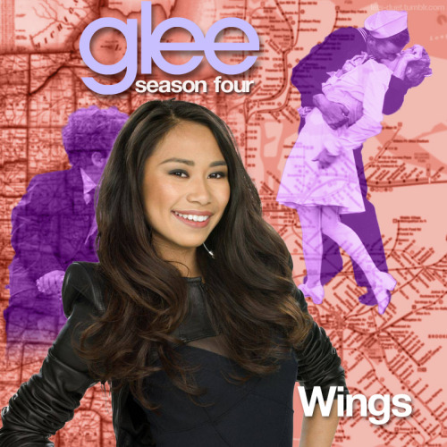 "A Glee album cover (with Season 4 souvenirs) for ""Wings"" by Little Mix, as sung by Jessica Sanchez and the Hoosierdaddies, from Episode 4x22 ""All or Nothing"" in my Map Backdrop Style."