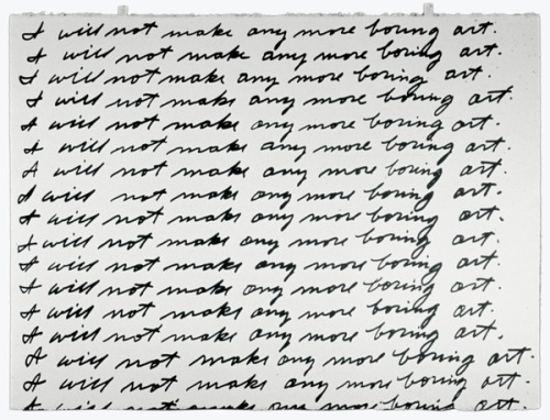 jpegheaven:  John Baldessari, I Will Not Make Any More Boring Art, 1971