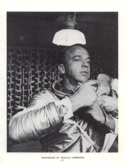 Alan Shepard gears up for his flight as the first American in space. May 5, 1961.  This photo from the holdings of the Eisenhower Library shows astronaut Shepard preparing for his record setting flight as the first American man in space. -from the Jacqueline Cochran Papers, Federation Aeronautique International Series.  National Archives ID #7065300 This post was originally a Doc of the Week from the Eisenhower Library