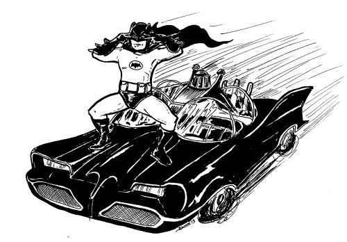 keepingwolteraccountable:   Chris Sims recently requested a drawing of Batman ghost riding the whip. Here's a quick sketch of that. I'll probably clean it up and color it tomorrow, but I honestly couldn't wait.    This is canon.
