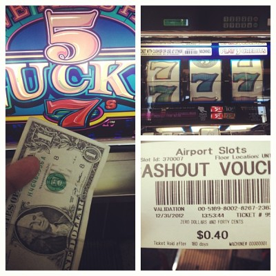 """Found a lucky dollar in my seat"" and it proved to be no luck. #lasvegas #PicFrame #love #instagood #vegas #instamood #igers  (at McCarran International Airport (LAS))"