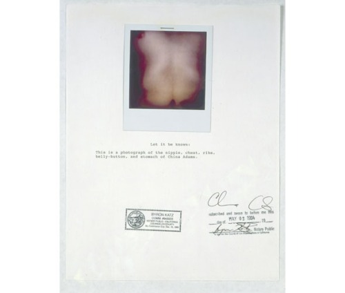 "China Adams Notarized Body Parts: This is a Photograph of the Nipple, Chest, Ribs, Belly Button & Stomach of China Adams, 1993  Polaroid, Photocopy, Ink on Paper 11""(H) x 8 1/2""(W)"