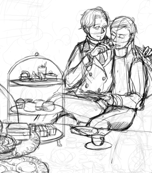 WIP (obviously) I keep drawing about afternoon tea but never finished any one of them urgh. Getting a little busy these days, since I want to finish most of my projects before I go on vacation…still deciding my London trip schedule, how can I go to all the restaurants and tea places in 5 days not sure if I am going to finish this one either, There's another one I like better…>_>
