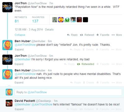 "Tonight JonTron ""owned"" me on Twitter. Nice. He really seems like a great guy."
