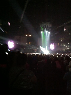 My first Bieber concert is #BelieveTour and this is how he opens the show…on wings!!!! 😜