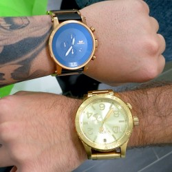 Our new Tic Time Trends team member is rocking his new #Nixon 51-30 Gold tide while I rock the #Vestal Rose Gold/Black Plexi 🔥⌚🔥 #ttrb