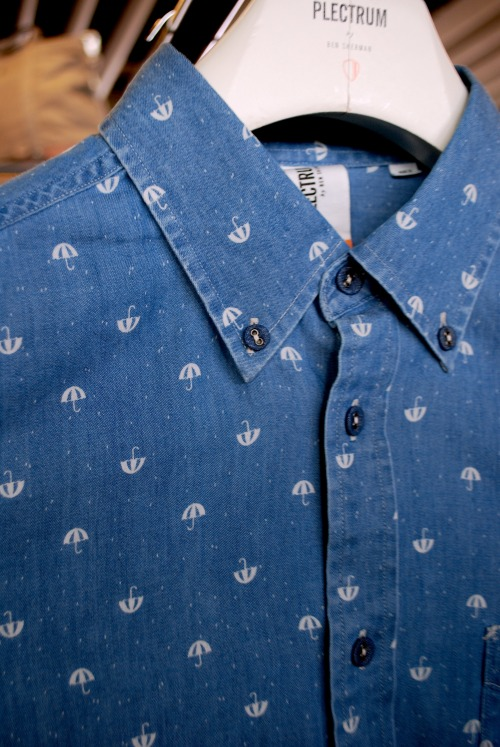 Repeat micro prints on chambray button downs were a stand out trend at today's #projectny  menswear tradeshow seen here at Plectrum by Ben Sherman @BenSherman1963 WGSN shot, New York