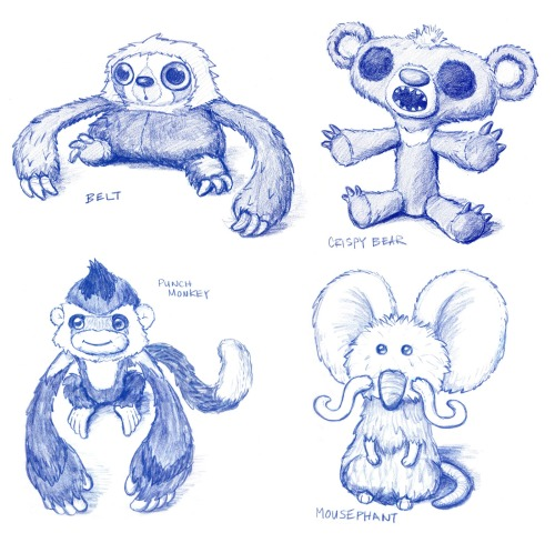 thecroods:  Designer and illustrator June Shieh recently posted some design sketches she did for the limited line of Croods plush toys. While I'm glad the manufacturer gave the mousephant back his trunk (hey, that almost sounds like one of Aesop's fables!), I sure wish Shieh's version of Crispy Bear made it into stores.
