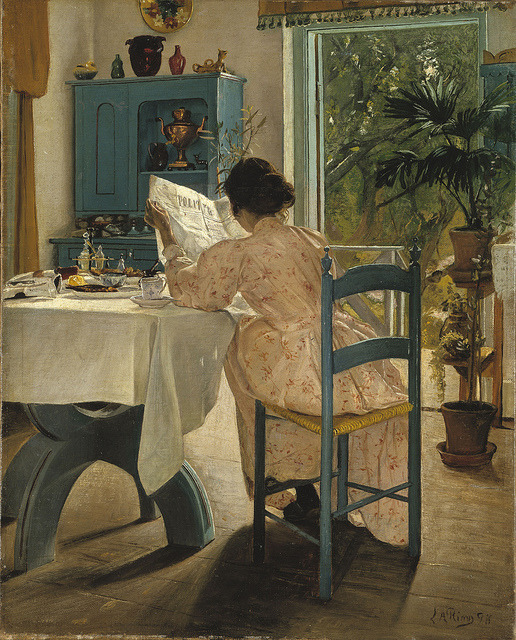 'At Breakfast' by L. A. Ring (1898) Lauritz Andersen (L.A.) Ring [Danish Painter, 1854-1933] RIng was one of the foremost Danish painters of the turn of the 20th century, pioneering both symbolism and social realism in Denmark. OIl on canvas National Museum, Sweden (by Plum leaves) (via lilacsinthedooryard:)