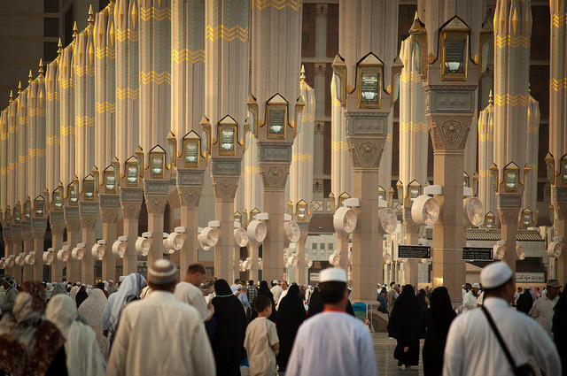 Canopies at the Prophet's Mosque on Flickr.