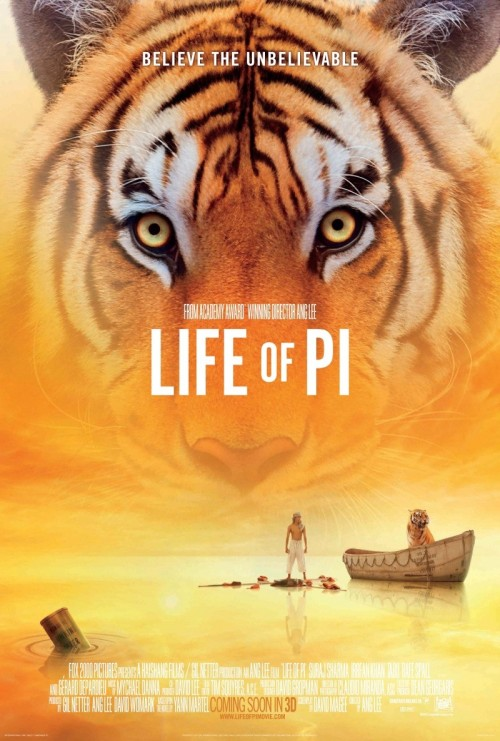 "#134 Life Of Pi (2012) Dir. Ang Lee  This movie will push your retinas to the absolute brink. Probably the most visually overwhelming experience I've had at the cinema in 2012. Life Of Pi is a beautiful, beautiful movie. The best use of 3D since Hugo. I love how you hear nothing from Ang Lee for years then suddenly he explodes out of the woodwork with a blinder. He's one of the most spiritual and painterly filmmakers alive and also one of the most versatile. Kevin Smith referred to him on twitter as a ""cinematic jedi"" and I can't think of a better description than that. He handles so many moods and ideas in Life Of Pi that you can't help but take a second to quietly applaud his skill.The entire sinking-ship sequence is breathtaking and left me physically and emotionally exhausted while another scene of a young boy looking at his mother can have the same effect. This is a proper movie, born and bred for the big screen. I thought it was near-perfect."