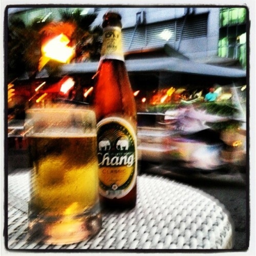 Red light district in Bangkok with a cold Chang Classic.  (at Sukumvit 8)