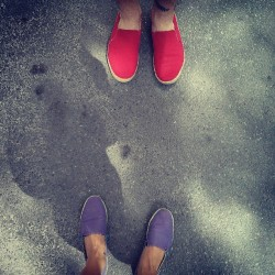 We try not to be matchy matchy. @p3tercarney  #shoes #red #purple #beijing