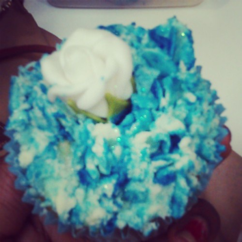 #homemade #glitter #icing #blue #cupcake #cake #flower #food #tasty
