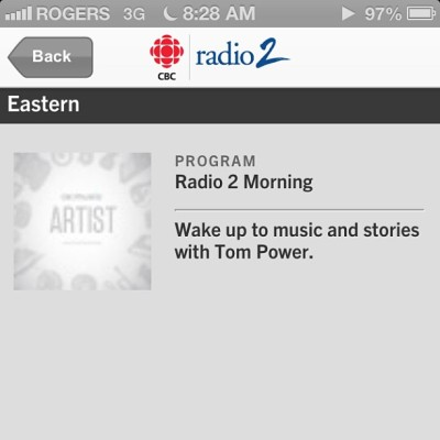 #cbc every #morning as I walk to work for great #music and the #news!!'