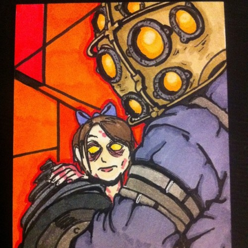 theshaunsnow:  Big Daddy/Little Sister complete! #art #comic #comics #doodle #doodles #drawing #drawings #illustration #illustrations #sketch #sketches #freelance #instaart #instadraw #instaartist #bioshock #bioshock2 #irrationalgames #bigdaddy #littlesister #videogames #copics #sketchcard #commission