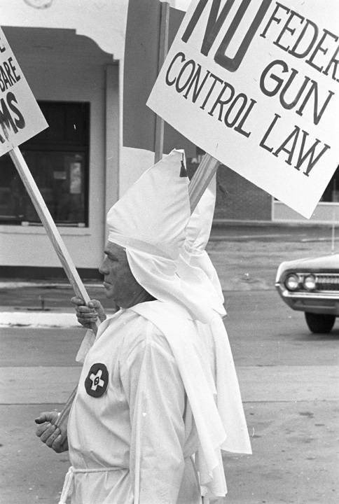Klansmen march in a Klu Klux Klan rally in Montgomery, Alabama. December 10, 1967. Photo by Jim Peppler. Courtesy of the Alabama Department of Archives & History.