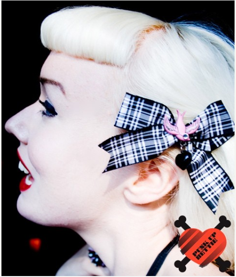 Pink Swallow and Black Heart Plaid Hair Bow - LIMITED STOCK * ONE OF OUR BEST-SELLING HAIR BOWS! BACK IN STOCK IN LIMITED QUANTITY!