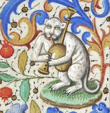 discardingimages:  bagpipes cat book of hours, Paris ca. 1460. NY, Morgan Library & Museum, MS M.282, fol. 133v  This is just delightful.