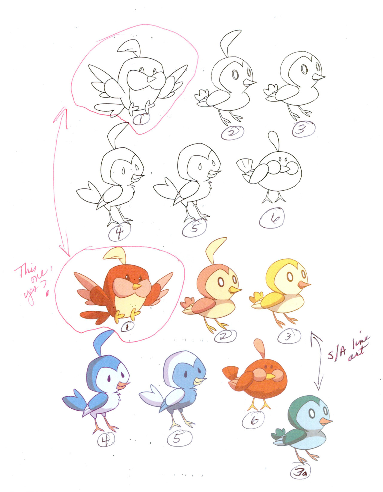 "frederator-studios:  Birderlies Picks Brianne's been busy drawing up birderlies for ""Doctor Lollipop."" For what it's worth (a lot!), Kelly commented,  I think it would be fun to do the boxy red one- sans head feather. Then the two that are the same shape, yellow and green and keep the individualized colors. I think it'd be a really great way to add dimension to their roles, so they stand out more as characters than as props."