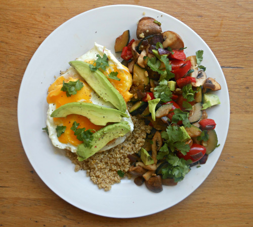 iamnotover:  Lunch was two eggs on a bed of quinoa, topped with avocado and fresh coriander, with a side of sautéed mexican vegetables.    Yum