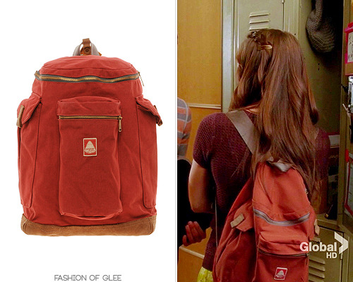 Marley's school backpack is this classic bag from the JanSport Heritage collection. Fun fact: Jacob Ben Israel wore this same bag, in mustard, during Season 1! JanSport Heritage Hoss Backpack - $137.95 (dark red) Also worn in: 4x01 'The New Rachel', 4x02 'Britney 2.0', 4x03 'Makeover', 4x04 'The Break-Up', 4x05 'The Role You Were Born to Play', 4x06 'Glease', 4x07 'Dynamic Duets', 4x08 'Thanksgiving', 4x09 'Swan Song', 4x10 'Glee, Actually', 4x11 'Sadie Hawkins', 4x12 'Naked', 4x13 'Diva', 4x14 'I Do', 4x15 'Girls (And Boys) on Film', 4x16 'Fued', 4x17 'Guilty Pleasures', 4x18 'Shooting Star', 4x19 'Sweet Dreams', 4x20 'Lights Out', 4x21 'Wonder-ful', 4x22 'All or Nothing'