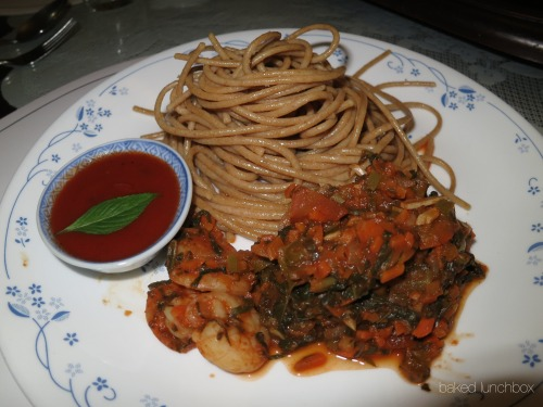 "WHOLEWHEAT PASTA with Shrimp Tomato Sauce This little pasta dish may sound like a regular tomato sauce pasta but it's really not, and it's not that ""little"" either. The tomato sauce is infused with a lot of herbs that you can totally cut down salt, and other unnecessary seasonings! Recipe - 1 serving: 50 (raw) grams Whole Wheat Pasta 1/2 Green Bell Pepper, chopped finely 1/2 White Onion, diced 3 cloves garlic, chopped finely A handful of Basil leaves, chopped finely 3 leaves Oregano, chopped finely 3 medium-sized tomatoes, cubed 1/4 Carrots, chopped finely a handful of Spinach, chop roughly 3 shrimps 3 Tablespoons tomato paste (to taste)  Step-by-step: 1. Boil water in pot. Place pasta in boiling water. Boil 15-20 minutes. 2. While boiling… Chop finely Bell Pepper, Basil leaves, Oregano leaves, Garlic, Carrots - set aside, separately. 3. Cube Tomatoes, White Onion -set aside, separately. 4. Preheat medium-sized skillet with a teaspoon of Olive Oil. You'll know if the oil is hot and ready by touching it using a moist wooden spoon. If oil sizzles, that's the time you can add the ingredients. 5. Sauté Garlic and Onion til almost golden brown. Throw in Tomatoes & Carrots. Cover pan with lid for 1 minute or until tomatoes become watery. 6. Add in Basil, Oregano, Spinach, Bell Pepper - Mix well. This is also a good time to add the shrimps so it'll absorb the aroma of the herbs while cooking.  7. Add Tomato Paste and give it a good mix.  8. Drain the Pasta from the boiling water just before serving. We don't want sticky pasta now, don't we? You can also mix it with a little olive oil, but that't not necessary if you drain the pasta straight from the pot to your plate. 9. Be creative! Presentation is part of the meal if you want to enjoy your delicious creation!  *Photo: I just cooked Step 7 separately for presentation that's why the Tomato Shrimp sauce is a bit dry on the photo. But when you mix them all up on your plate, tastes as good!"