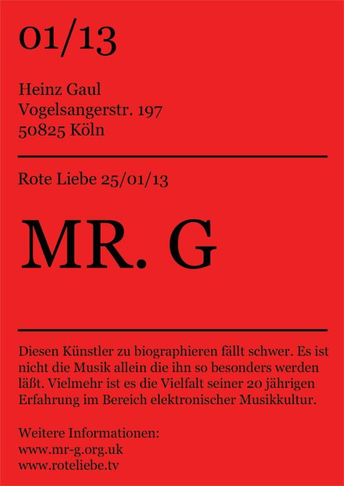 this friday: mrG at roteLiebe inside heinzGaul. cologne ehrenfeld.