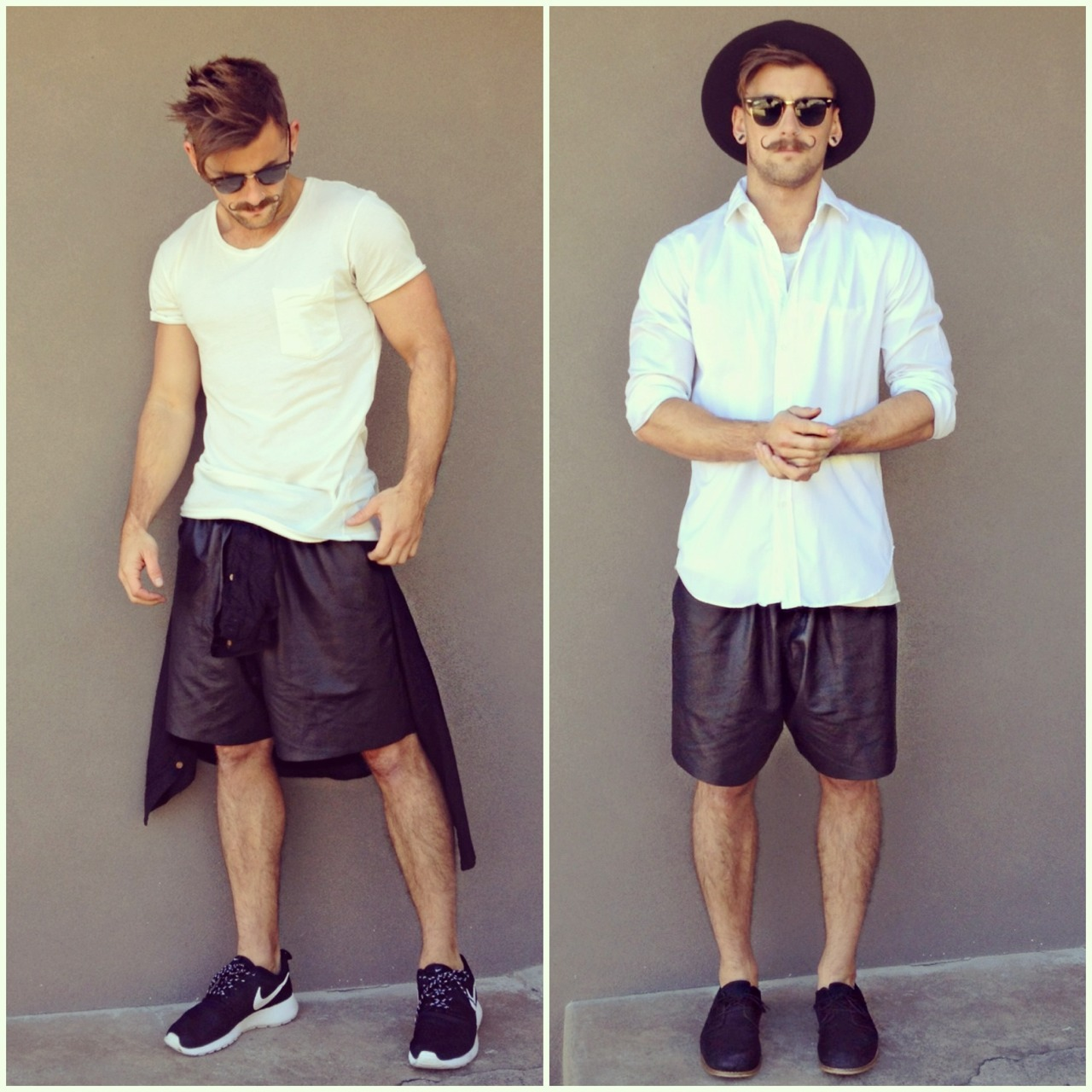 bangarangblog:  loving my new Elliott Label leather shorts. Which way do you prefer?  omg