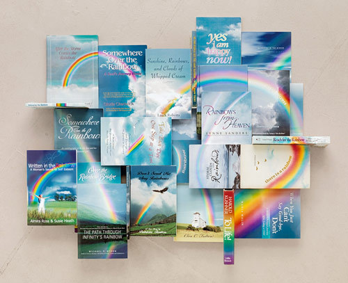 Self-help books arranged and photographed by Kent Rogowski.