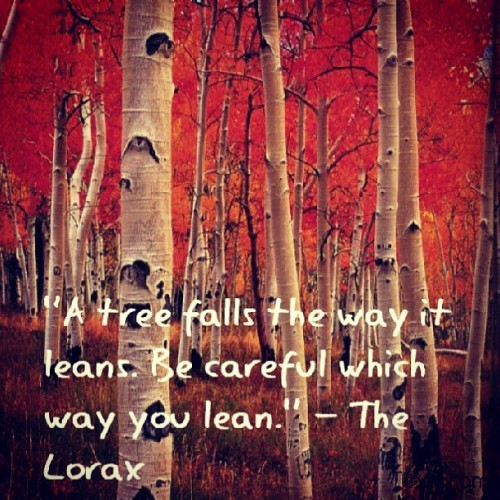 "baldheadqueen:  ""A tree falls the way it leans. Be careful which way you lean."" - #TheLorax #Preach #DrSeuss #Unless SO many great quotes in this movie! #BEAM #BeInspiredAsIAmInspired"