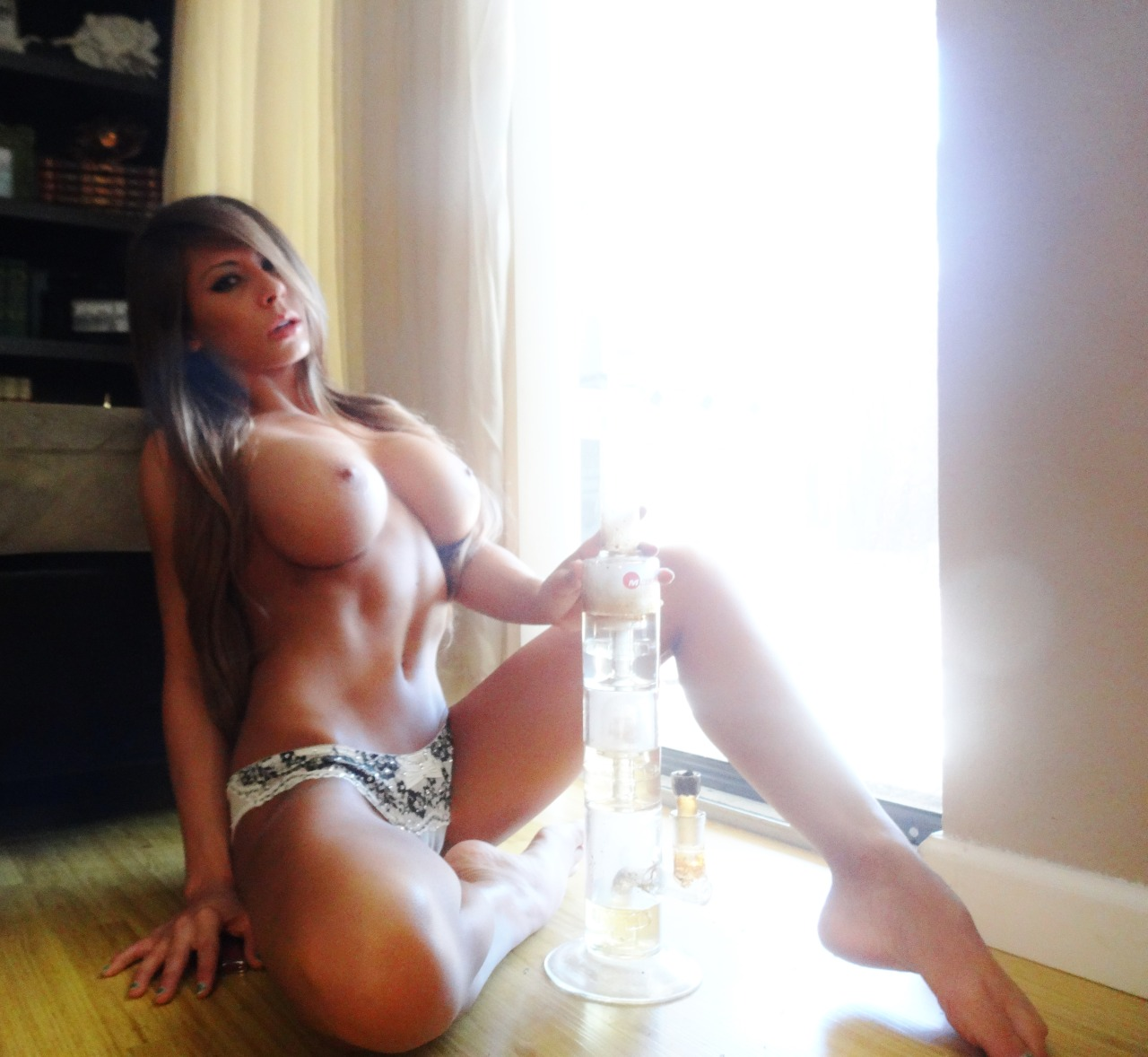 madisonivy420:  Its Always 4:20 In the #LandOfMadIvy….Toppless Floor Smoking After A Worrisome Night.