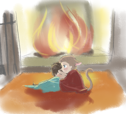 kiwakostalova:  puppy!kitty!Klaine in front of a fireplace