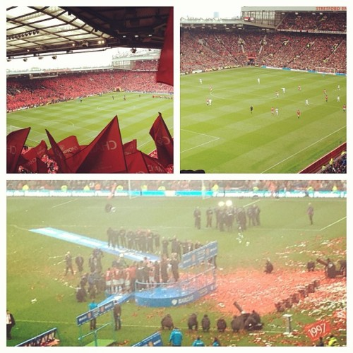 What a day. United 2 - 1 Swansea. Fergie's last home game & Paul Scholes' last United game. Biblical. (at Old Trafford)