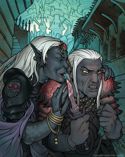 "Drow Treachery Fortune Card art. ""I see what you did"".Art Director: Mari KolkowskiCopyright Wizards Of The Coast LLC Art by Mike Faille http://mikefaille.com/"