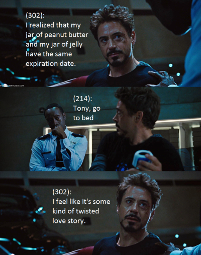 avengershellyeah:  I feel like Tony would be a kickass night blogger