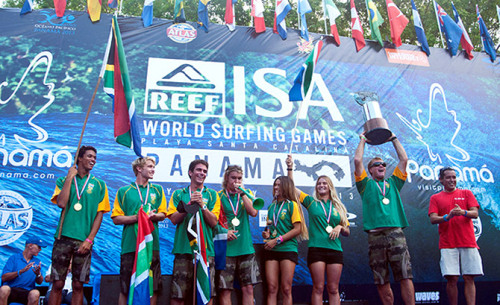 Team SA wins World Surfing Games  The South African surfing team celebrated a superb double at the 2013 Reef ISA World Surfing Games in Panama on the weekend when they were crowned the ISA World Team Champions and captain Shaun Joubert clinched the ISA men's world champion title. Team SA fought a see-saw battle for the most prestigious team title in world surfing, leading the standings on days five and six before slumping to fourth place going into the final day. Joubert's outstanding victory, however, saw them overtake perennial rivals and defending champions Australia, emerging surfing powerhouse Peru and Brazil, who earned silver, bronze and copper medals respectively. Read more.