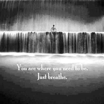 """You are where you need to be. Just breathe."""