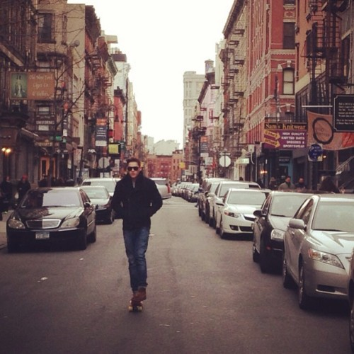 finnharries:  @jacksgap penny boarding through the streets of China Town, New York
