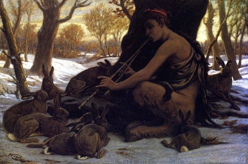 red-lipstick:  Elihu Vedder (1836-1923, USA) - Marsyas Enchanting The Hares, 1899 Paintings: Oil http://www.elihuvedder.org/artist-page-.html