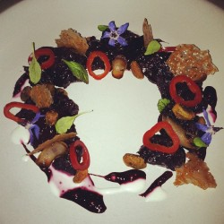 Beets, edible lavender florets, honey touille and peppers - picture perfect #gourmet #food #foodie #salad #pretty #healthy #beautiful #art #health #pepper #luxury #beet #colors #yum #yummy #sanfrancisco #california  (at Aziza)