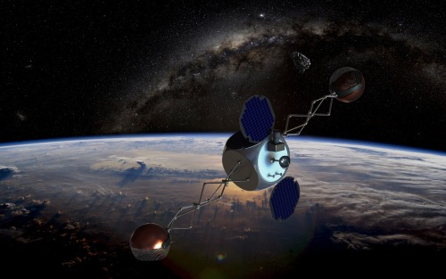 "sagansense:  'Sling-Sat' Could Remove Space Junk on the Cheap A proposed space-junk removal system would hop from one piece of debris to the next without burning much fuel, potentially making a de-clutter mission economically feasible with current technologiy. The TAMU Space Sweeper with Sling-Sat, or 4S for short, would harness the momentum imparted by capturing and ejecting one object to slingshot on to the next chunk of space junk, its developers say. ""The goal of this mission is to remove as many pieces of debris with the minimum amount of fuel,"" said Daniele Mortari of Texas A&M University. A growing problem Earth is surrounded by a huge and ever-growing cloud of orbital debris — stuff like spent rocket bodies, dead spacecraft and the fragments generated when these objects collide. [The Expanding Danger of Space Junk (Video)] NASA estimates that about 500,000 pieces bigger than a marble and 22,000 as large as a softball whiz around Earth at fantastic speeds. And there are probably hundreds of millions of flecks at least 1 millimeter in diameter. This cloud of junk poses a threat to the satellites and spacecraft circling our planet, including the International Space Station, and many researchers say humanity must act soon to prevent the problem from really getting out of hand. ""It is well understood that we are past the point of no return. Relying solely on improved tracking and avoidance is not enough … it is simply a technical form of sticking your head in the sand and crossing your fingers,"" Texas A&M PhD student Jonathan Missel told SPACE.com. ""We are at a point where the problem needs to be solved, with active removal, not just avoided."" A new idea Many ideas have been put forward over the years to combat the space-junk threat, including schemes that would blast debris with lasers or snare it in a giant net. ""While they are interesting to think about, they are often threatening to operating satellites, or need technological advances that are decades out,"" Missel said of some of the more ambitious offerings. The most technically and politically sound idea is a simple rendezvous mission, during which a clean-up craft would travel to and de-orbit debris objects one at a time, Missel said. But such a mission would burn loads of fuel to get between widely spaced targets, making it ""fatally plagued by inefficiency,"" he added. The 4S system, which Missel and Mortari are developing, aims to correct this fatal flaw. It would snare debris at the end of a spinning satellite, then fling the object down to burn up in Earth's atmosphere. The spacecraft would harness the momentum exchanged during both of these actions to cruise over to the next piece of space junk on its list, minimizing fuel use and extending its operational life to the point that such a mission might be practical. Work on 4S this year includes looks at hardware options, Mortari said, and further optimization of the idea. Watch: Space Debris + Fragmentation"
