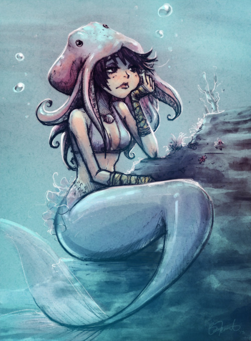 A pensive mermaid chilling with her friend Hat.