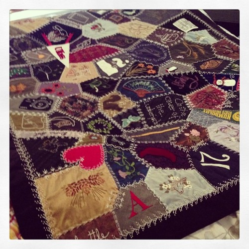 It only took 11 years, but my mom finally finished the crazy quilt that was supposed to be my middle school graduation present. #handmade #quilt #crafts #art #embroidery #seeing (at Hogwarts School of Witchcraft and Wizardry)