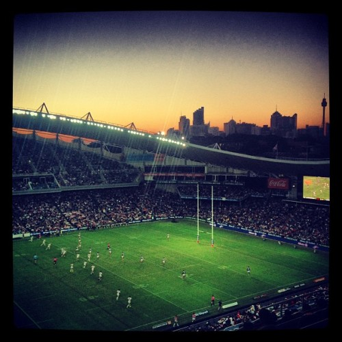 #sydney #sunset on #anzacday #nrl (at Allianz Stadium)