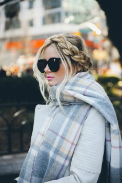 hair fashion style blonde leather jackets braid outfits braids hair styles blonde hair Scarves womens fashion fashion bloggers hair dos winter style milk maid braids dutch braids holiday style plaid scarf womens outfits