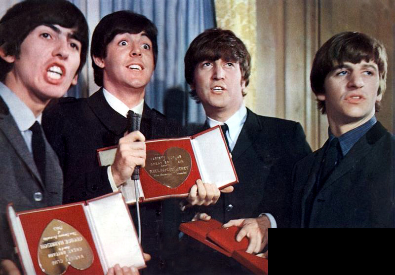 The Beatles with their Silver Hearts awards