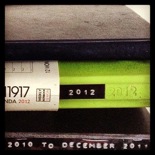 Old planners, full to burst. Three years or so of random mishaps. #moleskine #leuchtturm1917 #planner #journal